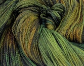 "Hand Dyed Superwash Merino. Fingering. 536 Yards. 4 oz. . Green . Brown . ""Dragon's Forest""."
