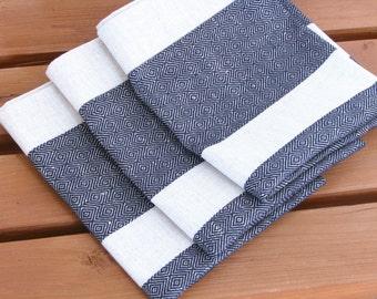 Linen Tea Towel / Hand Towel / Dish Cloth or a Guest Towel / Striped / Black /  Ecru