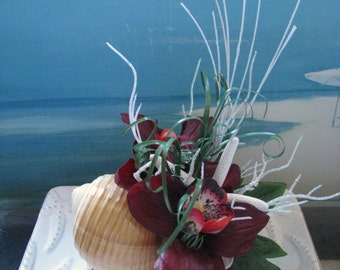 Orchid Seashell Beach Wedding Cake Topper~Starfish Cake Topper
