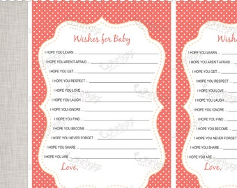 Wishes For Baby Sheets - Coral & Peach -  INSTANT DOWNLOAD