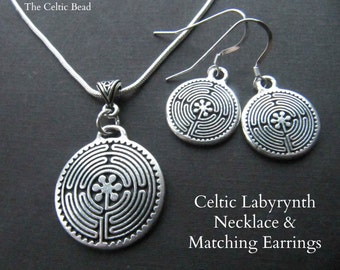Celtic Irish Labyrinth Necklace and Matching Earrings