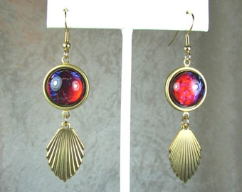 Brass and Vintage glass earrings