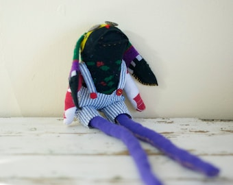 Sock Animal Bunny, Hand-stitched, Made with all Reclaimed Fabrics, One of a kind, Plush Toy, Softie, Hipster, Sustainable Gift, Upcycled