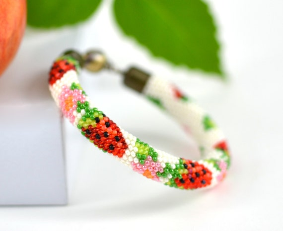 Strawberry Beaded  Bracelet Bead Crochet Bracelet Beadwork Bracelet Fruit Bracelet White Green Red Multi-Colored Colorful Minimalist Jewelry