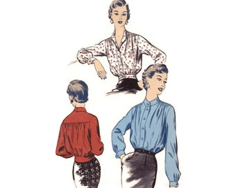 Vintage 1950s Sewing Pattern - Lumber-Jacket Blouse with Fitted Waistband, Gathered Front & Back - Advance 6907, Bust 30, Uncut