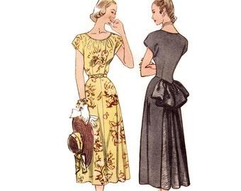 1940s Dress Pattern, Simplicity 2430, Bustle Skirt Dress with Back Godet & Gathered Neckline, 1948 Vintage Sewing Pattern Bust 32 Uncut
