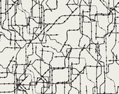 SALE - GRAMERCY by Leah Duncan for Art Gallery Fabrics - Subway Routes Dark - 1 Yard - Quilting Weight Cotton Fabric