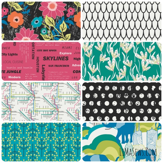 JUNGLE AVE by Sara Lawson for Art Gallery Fabrics - Fat Quarter Bundle - Complete Collection of 8 Prints