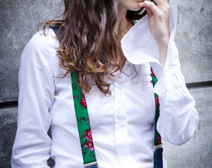 Black Floral Womens Suspenders Reversible Denim Suspenders Women Textile Braces Girlfriend Gift Suspenders with flowers