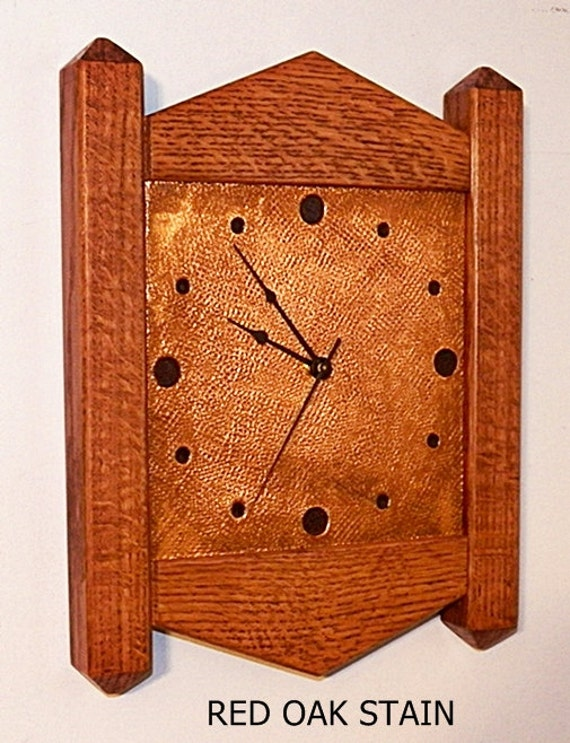 Wall clock arts crafts mission stickley inspired quarter sawn for Arts and crafts style wall clock