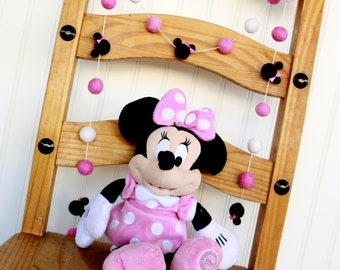 Minnie Mouse, Disney, Baby Minne, Birthday Felt Ball Garland, Pom Pom Garland, Nursery Decor, Bunting Banner, Party Decor, Baby Shower