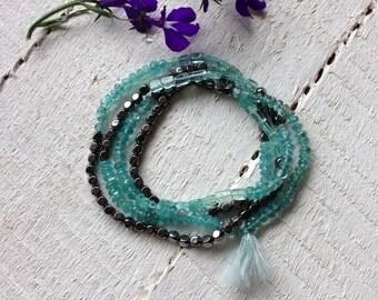 Gemstone Bracelet Necklace Blue Wrap Boho Bracelet Beaded Wrap Apatite Bracelet