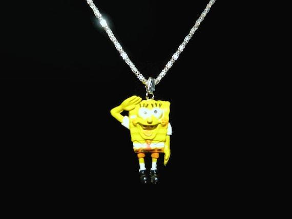 Sponge Bob Necklace, Childs Necklace, Boys Necklace, Cartoon Necklace