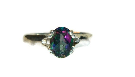 Rainbow Ring, Mystic Topaz, Oval Stone, Sterling Silver