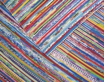 4x6 Rag Rug / Bright Multicolored / Red, Orange, Yellow, Green, Blue, Indigo, Violet