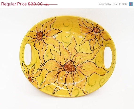 Christmas in July SALE-- Sunflower Serving Platter, Sunflower Plate, Sunflower Serving Dish, Sunflower Pottery, may gifts, june, summe