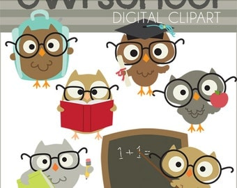 School Owls Clipart -Personal and Limited Commercial Use- Owls School Clip Art, owl in glasses, graduation owl