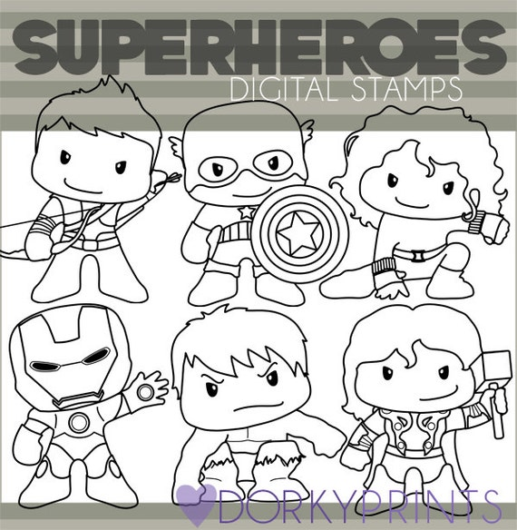 Line Art Limited : Super heroes clipart set personal and limited commercial