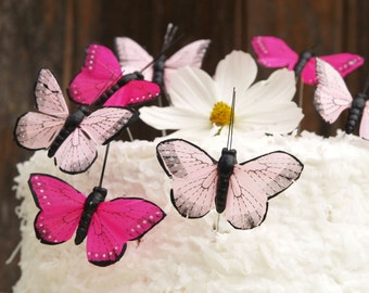 Butterfly Cake Toppers for your Wedding Cake, Fuchsia Pink Woodland Spring Garden Theme