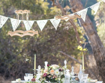 laser cut lace wedding bunting,  perfect romantic garland for indoor or outdoor bunting perfect venue decor, uk