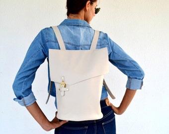 Ivory leather backpack / Handmade eggshell leather bag / Genuine Italian off white cow leather