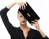 Black Leather Clutch - Suede Evening Envelope Purse or Bag