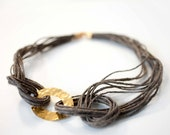 Statement Necklace - Khaki Knotted Rope Jewelry with oval ring brass piece hand hammered - Chunky bib necklace