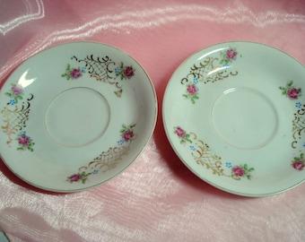 Vintage Wedding Saucers Dessert Plates Berkshire Fine China Occupied Japan Shabby Pink Rose Saucers Set of 2 Bridal Shower