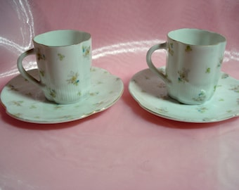 Vintage Tea Cups Victoria Carlsbad Austria Demitasse Teacups Set of 2 Delicate Shabby Cottage Chic