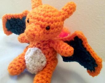 Charizard Inspired Crochet Amigurumi Doll - Stuffed/Plush Toy