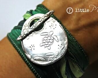 Sea Turtle Jewelry  Save The Sea Turtles Artisan Silk Wrap Bracelet