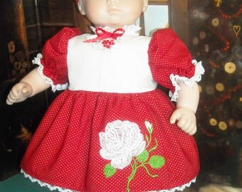"""Bitty Baby, 15-17"""" Doll Red Rose Embroidered Dress and Accessories"""
