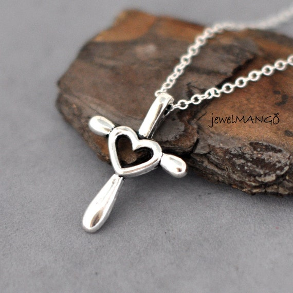 cross my heart necklace heart cross charmcross and heart