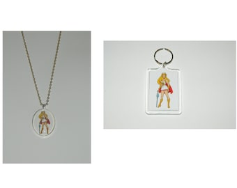 Shera She-Ra Princess of Power Glass Pendant Necklace and/ or Keychain