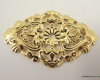 Gold Plated Filigree Focal, 59x35mm, 6 Pieces