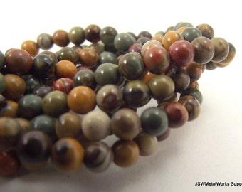 Red Creek Jasper Round Beads, 4mm, 16 Inch Strand, Whole Strand