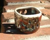 Rain Clouds Raku Luminary  - hand thrown, stoneware pottery, candle holder, luminary
