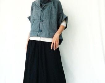 NO.85 Greyish Blue Cotton-Blend Cocoon Top, Trendy Unusual Jacket, Women's Jacket