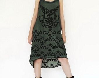 NO.140 Dusty Green Cotton Jersey Hi-Low Dress, Artistic Printed Dress