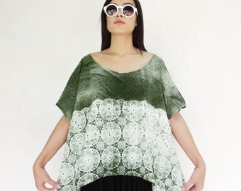 NO.153  Olive & White Wind Scoop Neck Dolman Top, Lace Printed Tee