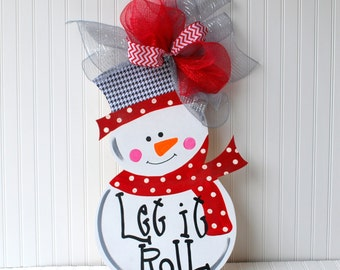 Snowman Wreath, Snowman Door Hanger, Roll Tide Christmas, Christmas Decor, Christmas Door Hanger, Holiday Decor
