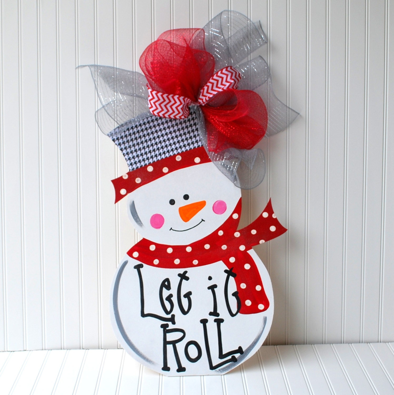 Snowman wreath door hanger roll tide by looleighscharm
