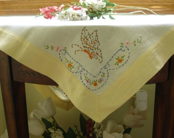 Linen Tablecover with Hand embroidered Butterflies 1950s