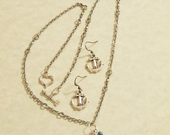 Pirate Anchor Necklace and Earring set