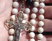 Handmade Catholic Rosary Gemstone and Buri Root Seeds and Bronze vintage Crucifix and Center