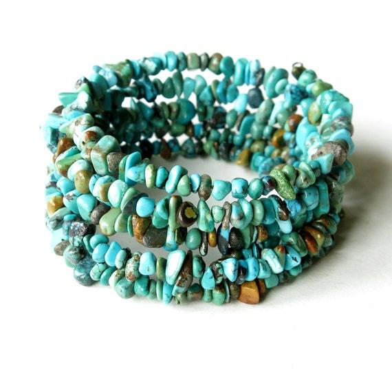 Turquoise stacked bracelets stone bangles by dalystudios on Etsy