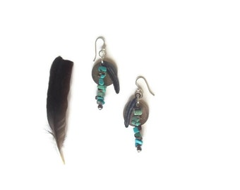 tribal feather earrings // turquoise beaded jewelry