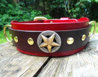 Large Leather Dog Collar 2 inches wide, Red and Brown Leather Collar, XL Dog Collar, Great Dane Collar, Large Breed Collar