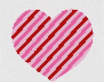Heart Striped Beginner Needlepoint Kit by Pepita