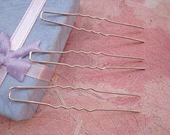 SALE--50 pcs - White K Metal Hair Pins--64mm